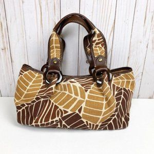 Fossil Canvas Leather Leaf Print Satchel